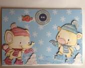 childrens chrismas card, christmas card, fun card, happy christmas, kiddies card,snowball, robin