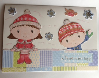 chrismas card, happy christmas, childrens card,robin card, snowflake card, quilted design card
