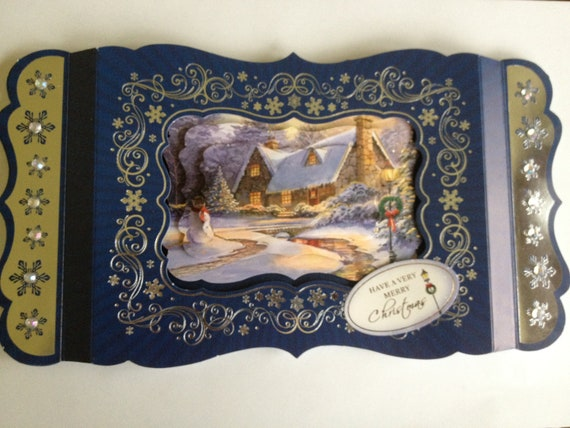 christmas card, royal blue and silver card, christmas scene,couuntry cottage scene, snowy effect, beads