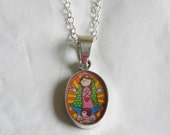 "Sterling Silver Necklace Pendant ""Virgencita Plis Cuida mi Familia (please take care of my family) bright colors-nickel free"