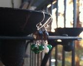 Sterling Silver Earrings w Jade, Smokey Quartz, Mother of Pearl Cluster