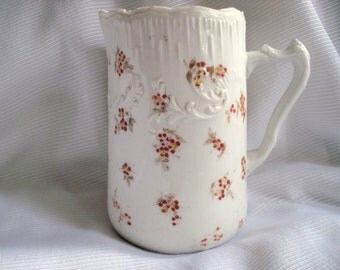 Vintage Shabby Pitcher Germany Milk Water Pitcher Red Floral Cottage Chic