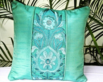 Green Throw Pillow, Pillow Cover, Decorative Pillow, Cushion Cover, Green Pillow, Sea Green, Embroidered, Flowers, Sequins- 'Green Topiary'
