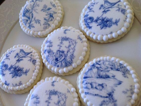 Items similar to Blue ... Round Birthday Sugar Cookies