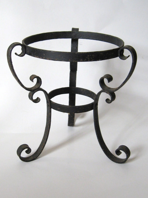 Vintage 1960s Black Wrought Iron Metal Scroll Planter Vase
