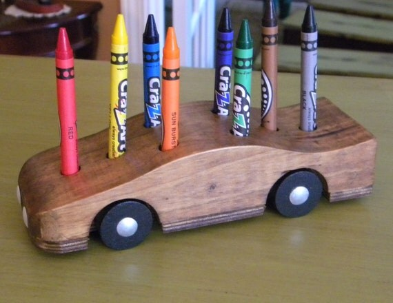 Toy Car Holder Tutorial : Items similar to wood car pencil holder childs crayon