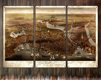 """Vintage map of Boston Harbor METAL triptych 36x24"""" FREE SHIPPING"""