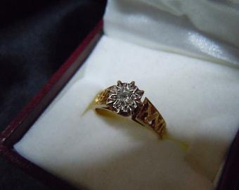 Vintage English Beautiful 18ct 18k Gold Filigree Ring with Diamond 1951