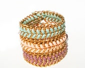 Set Of 3 Friendship Wrap Suede Bracelets In Gold Chain. Light blue, Baby Pink And Lilac. Arm Party