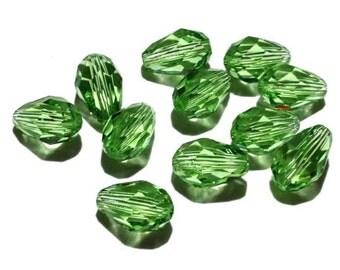 8 Swarovski Crystals, 5500, Peridot Tear Drop, 9x6 mm