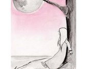 Summer Moon - art print, pink and grey, 6x9 print on A4 Biotop paper