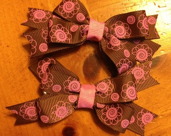 Brown and Pink Print s Hair Bow - 2 inches