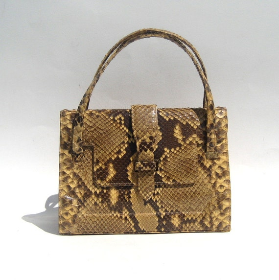 1960s SAKS FIFTH AVENUE genuine python snakeskin handbag