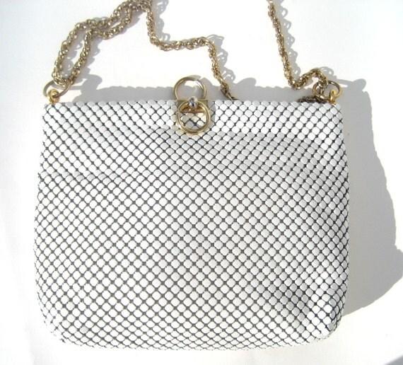 1960s vintage WHITING AND DAVIS mod chain-link mesh clutch handbag