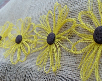 Burlap Daisy - Black Eyed Susan Flower Set of 12 - Rustic, Country, Woodland Decor