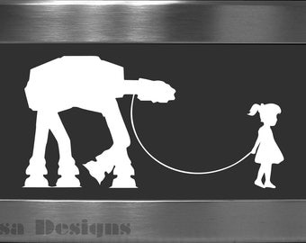 A Girl and Her At - At vinyl decal - Car decal - MacBook decal - AT - AT decal - Star Wars decal - Stormtrooper decal