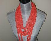 Neon Orange Knitted Cotton Necklace