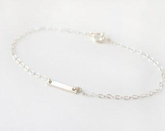 Sterling silver short flat bar bracelet