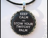 Fifty Shades of Grey Inspired Pendant Necklace Keep Calm Twitchy Palm
