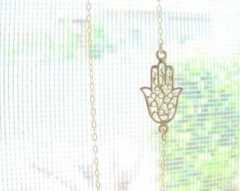 Gold Hamsa necklace, Hamsa necklace, Dainty Hamsa necklace, Hamsa charm, 14k Gold filled necklace, Sideways Hamsa necklace, Silver hamsa