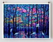 Giclee Print, Landscape Art,  Fine Art Prints, 11x14 Signed print of egrets at sunrise on the bayou