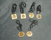 Laser Engraved Oak Pendant Leather Necklaces