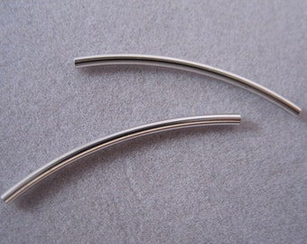 Noodle beads, Sterling Silver, Curvy tube bead sterling silver, 30mm x 2mm, 2pc,