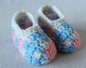 Pink, Blue and White Slipper Socks - Infant Baby Shower Gift - Boy or Girl - Gender Reveal Party Gift