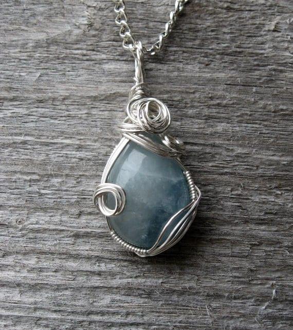 Aquamarine Pendant Silver Wire-Wrapped