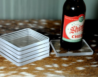 Rectangle clear coasters set of 6
