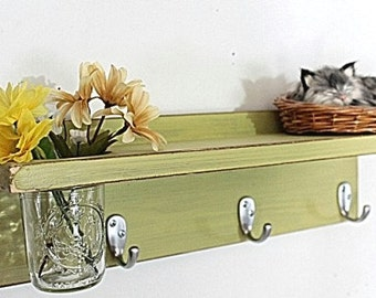 Cottage decor shelf 3 key hooks with floral vase, coat hooks, wood, home organizer, shabby chic, home decor,  painted light avocado
