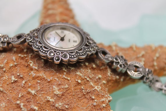 Treasury Item - Vintage Boma Sterling Silver & Marcasite Watch - Just Needs Battery