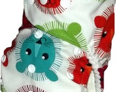 Modern cloth designer pocket nappy - Bright lion - one size fits most