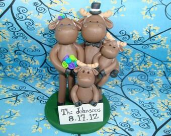 Custom Moose Family Cake Topper