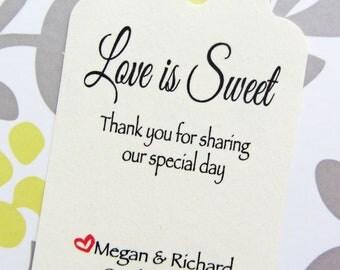 Custom Love is Sweet Wedding Favor Tags - Cream Cardstock