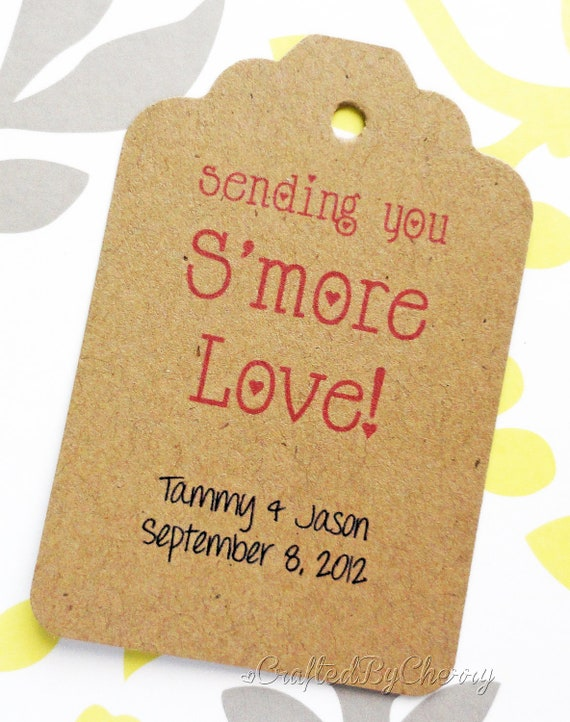 Custom S'mores Love Wedding Favor Tags - Kraft Cardstock