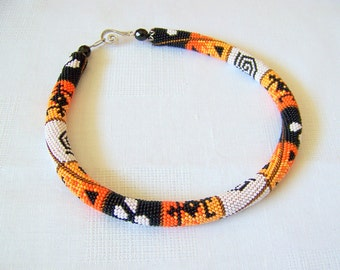 Bead crochet necklace - geometric - Beaded necklace - Handmade jewellery - Beadwork - Patchwork -  orange, tangerine, black, white, brown