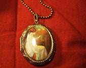 Victorian Lady Bird Cameo Locket Pendant Necklace