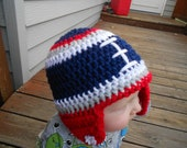 Custom - Crochet Football Hat - New England Patriots - Pick Your Favorite NFL Team - College Team - Newborn through Adult sizes