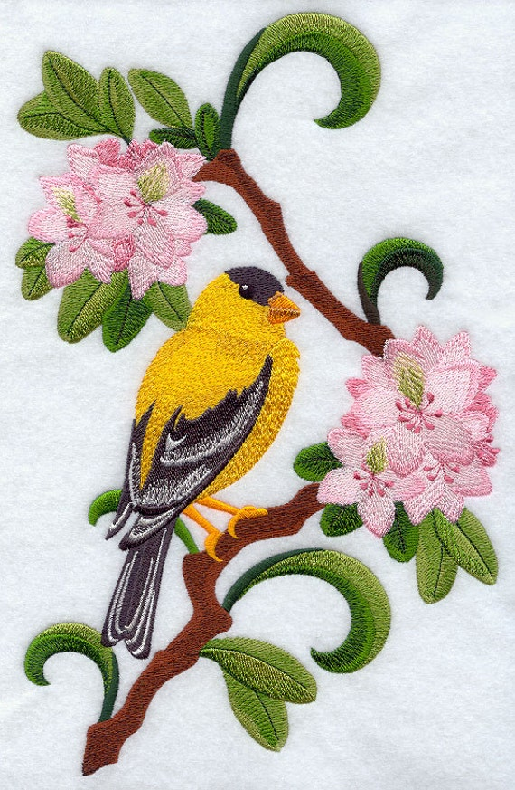 Washington Goldfinch and Rhododendron Medley -Embroidered Decorative Absorbent White Cotton Flour Sack Towel or Linen Tea Towel