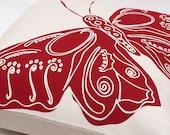 """Handprinted Pillow Cover """"Red butterfly""""  - 40 x 40 cm - 100% Linen - Zipper"""