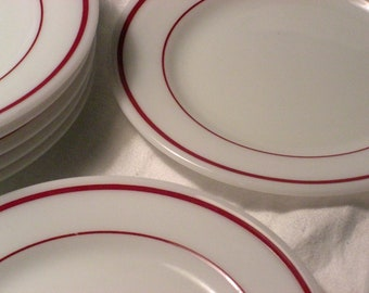 Corning Restaurant Ware Pyrex Maroon Ruby Band Diner - Horn Blower Milk Glass - Set of 4 Bread and Butter Plates (7 sets available)