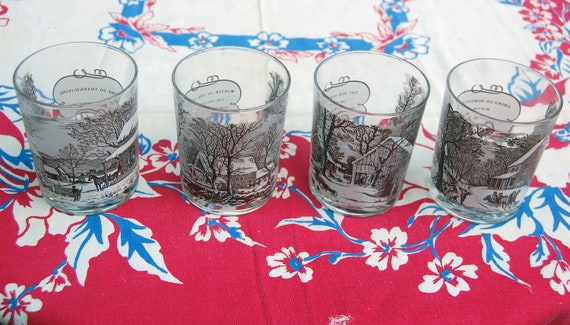 Currier and Ives Old Fashioned Holiday Glasses Four Different Scenes-Set of 4