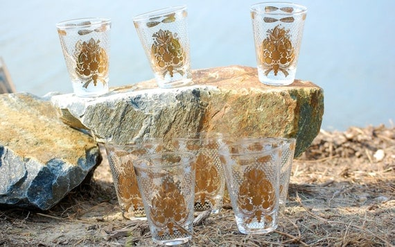 Georges Briard  Double Shot Cocktail Glasses Sonata  Design On the Rocks-Set of 8 Signed