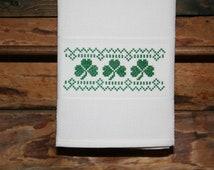 Saint Patrick's Cross Stitched Huck Towel.