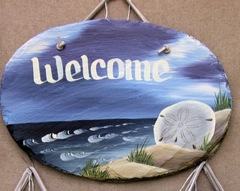 Handpainted Personalized Sanddollar Beach Nautical Slate Welcome Sign