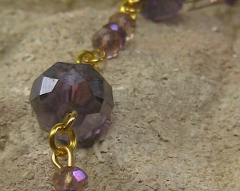 Gold and Purple Crystal Bracelet, linked accent bracelet wear alone or layered purple and pink hues