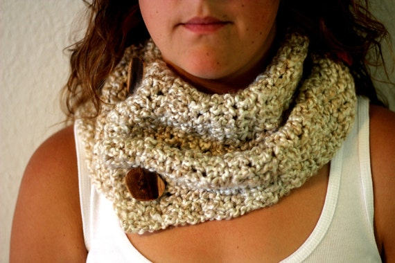 Crochet Cowl Scarf - Beige Crocheted Scarf - Handmade - Reclaim Cedar Wood Buttons