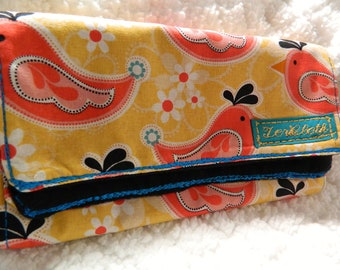 Burp Cloth Whimsical Birds with Paisleys and Turquoise Flowers