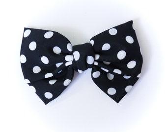 Black with White Polka Dots Bow Hair Clip